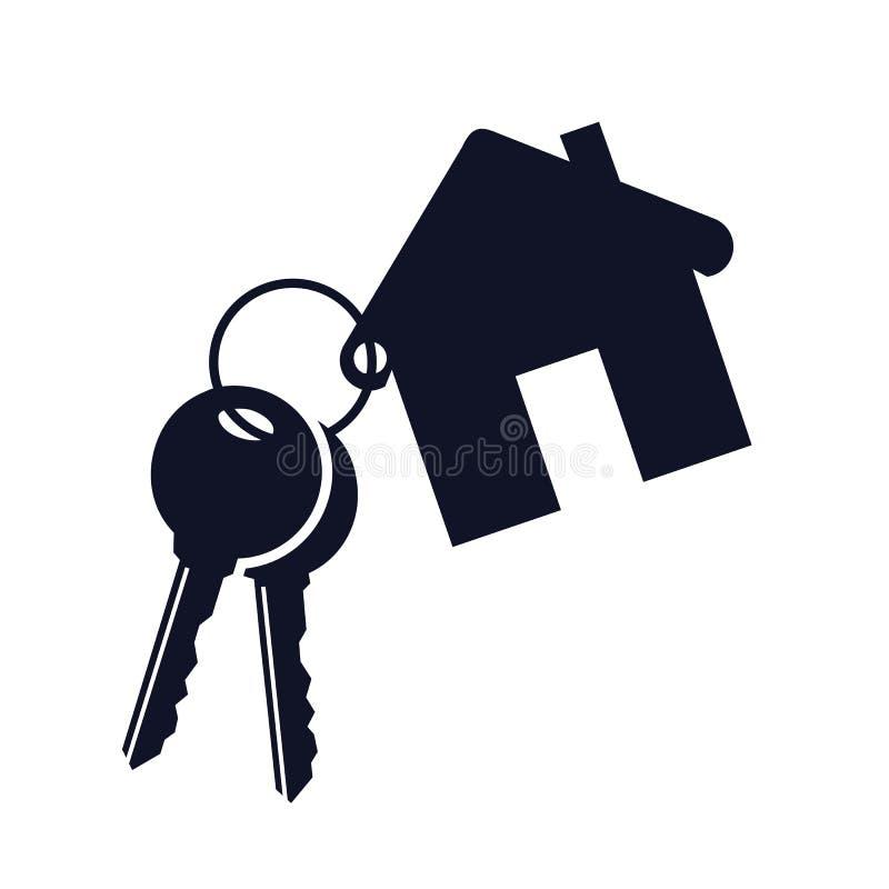 Hus med den nyckel- symbolen - vektor royaltyfri illustrationer