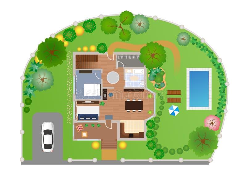 Hus med den trädgårds- orienteringen, vektor stock illustrationer