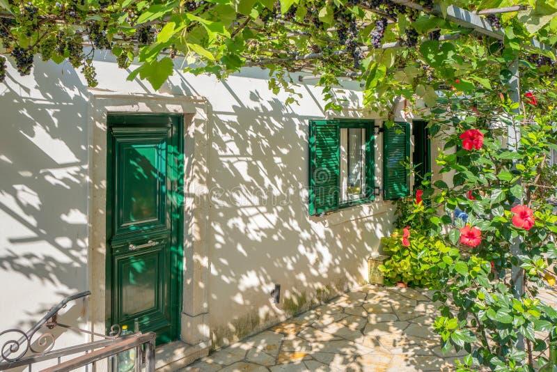 Hus med en pergola med druvaväxter fotografering för bildbyråer