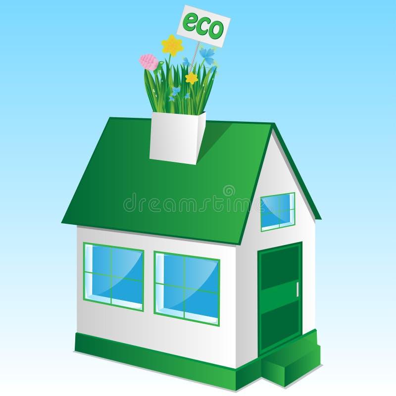 Hus med ett gräs och blommor stock illustrationer