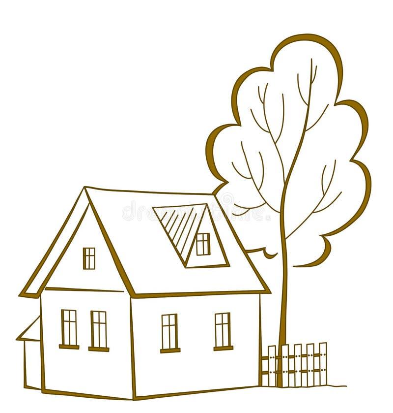 Hus med ett träd, pictogram stock illustrationer