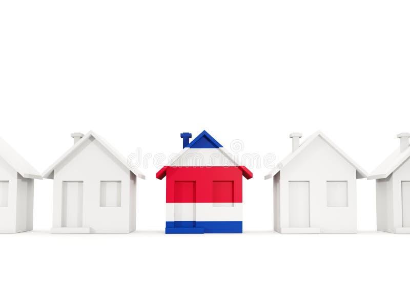 Hus med flaggan av Costa Rica stock illustrationer