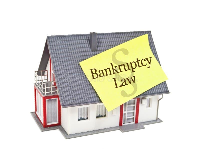Hus med konkurslag arkivbild