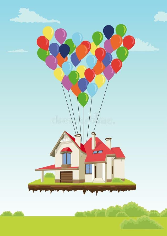 Hus med mångfärgade ballonger i form av hjärtaflyget i himmel över jordning stock illustrationer