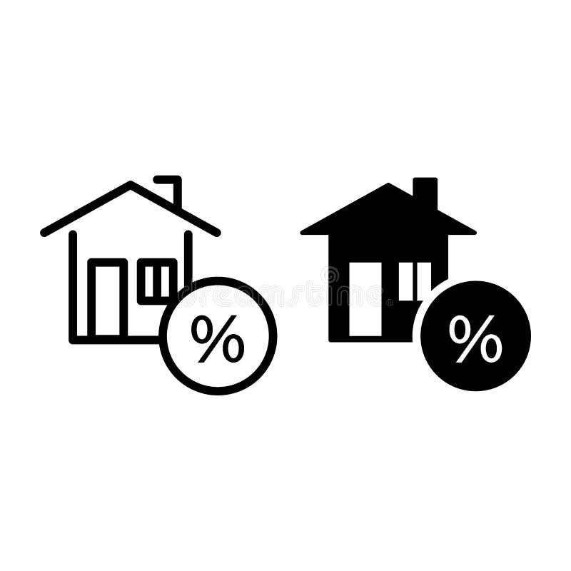 Hus med procent, krediteringslinjen och skårasymbolen Returnera, inteckna vektorillustrationen som isoleras på vit Hastigheten fö vektor illustrationer