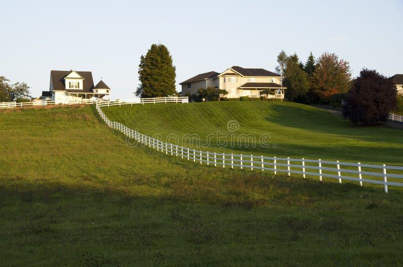Hus med stor gräsmatta för främre gård royaltyfri bild