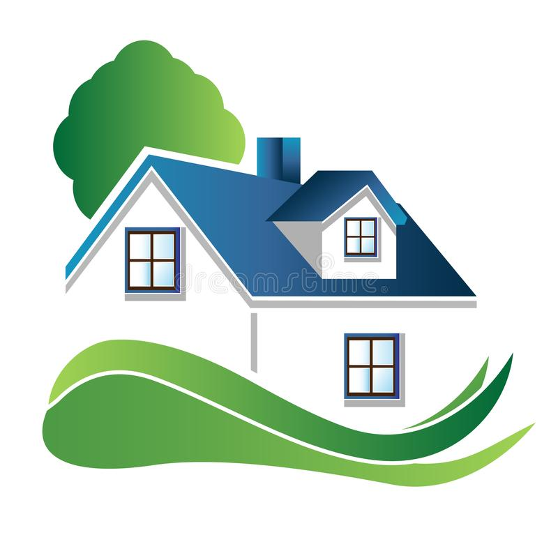 Hus med trädlogo vektor illustrationer