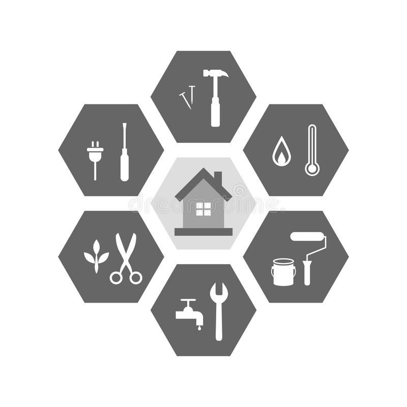 Hus- och arbetshjälpmedel runt om det stock illustrationer