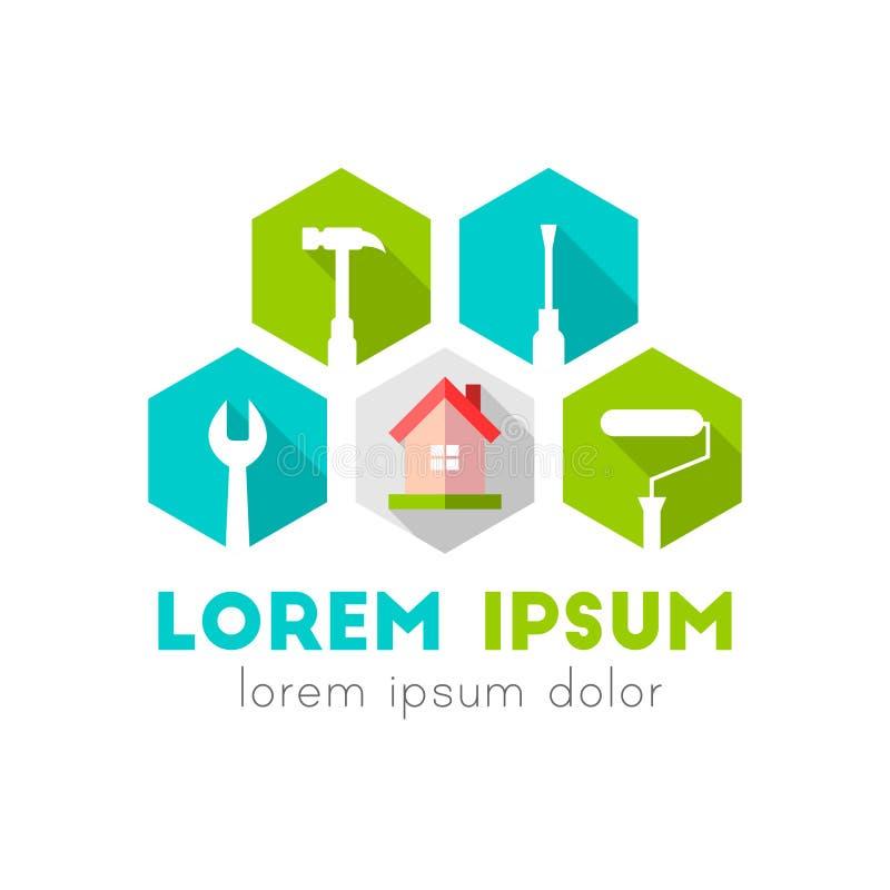 Hus- och arbetshjälpmedel som logobegrepp vektor illustrationer