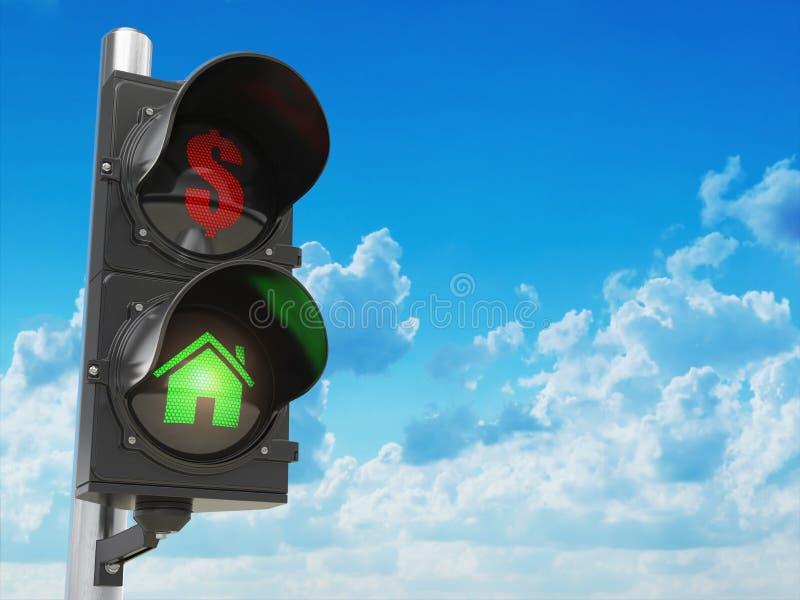 Hus- och dollarsymboler på trafikljuset Besparingar eller verkligt e vektor illustrationer