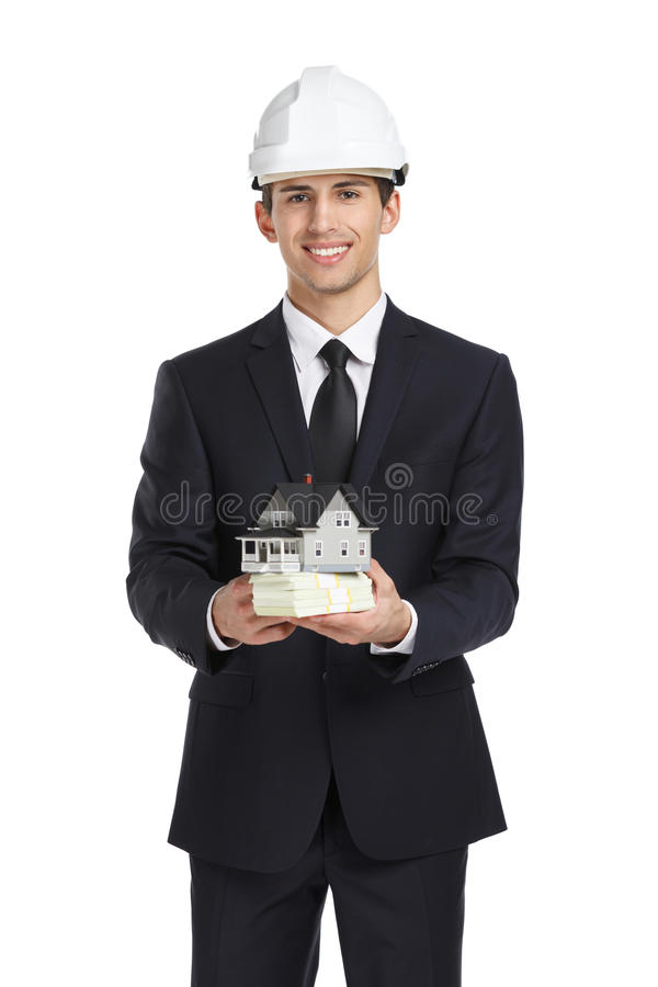 Download Hus Och Kassa För Fastighetsmäklarehandmodell Arkivfoto - Bild av färg, avtal: 37345898