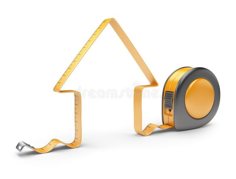 Hus och mätaband 3D. Konstruktionshjälpmedel vektor illustrationer