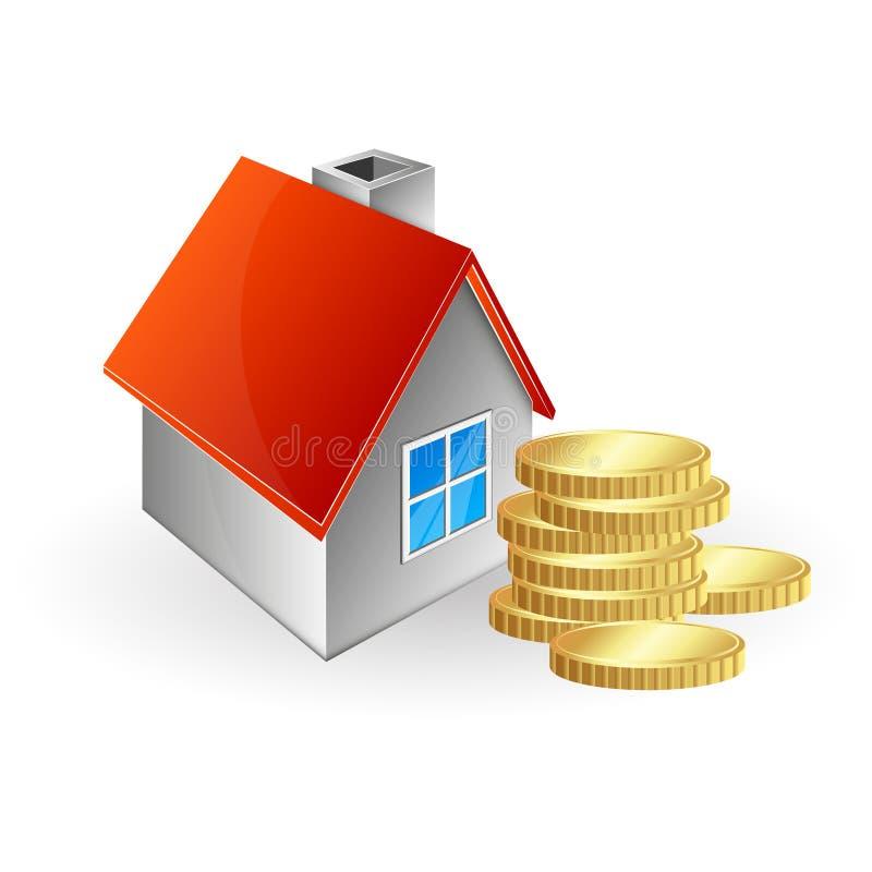 Hus och mynt stock illustrationer