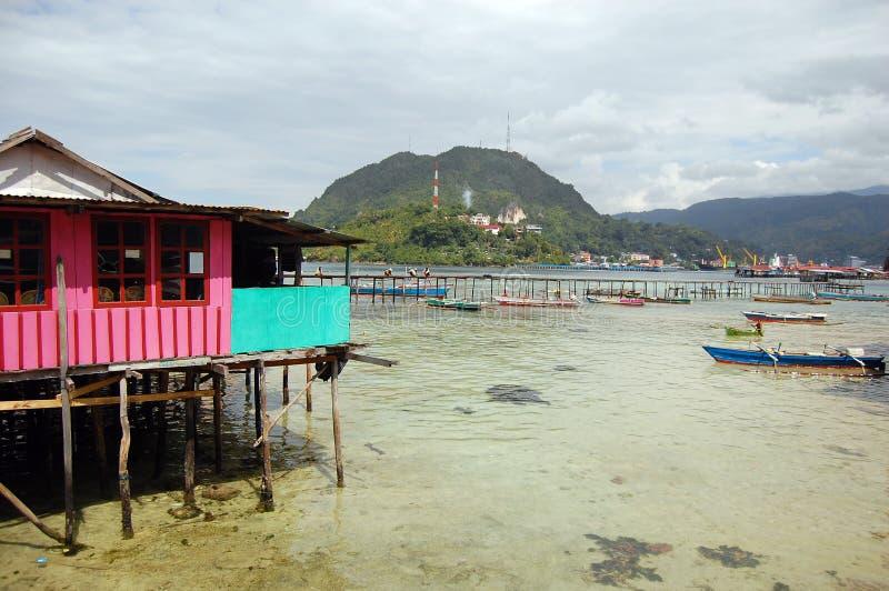 Hus och pir på havskusten royaltyfri foto
