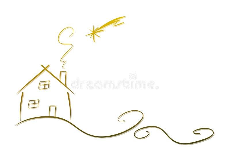 Hus och skyttestjärna royaltyfri illustrationer