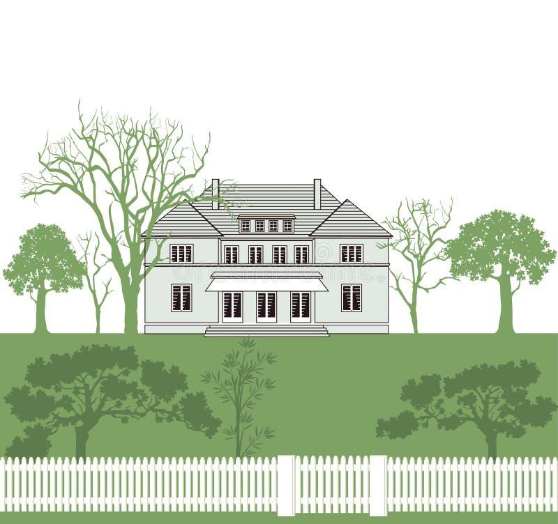 Download Hus och trädgård vektor illustrationer. Illustration av fäktat - 27284144