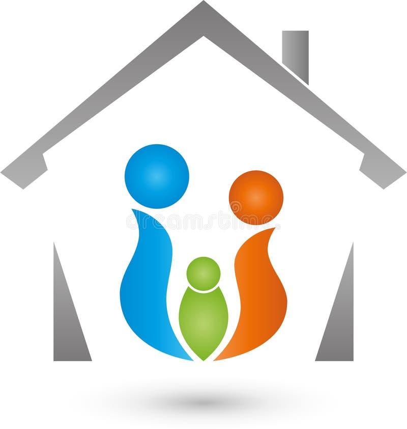 Hus och tre personer som färgas, lag- och familjlogo royaltyfri illustrationer
