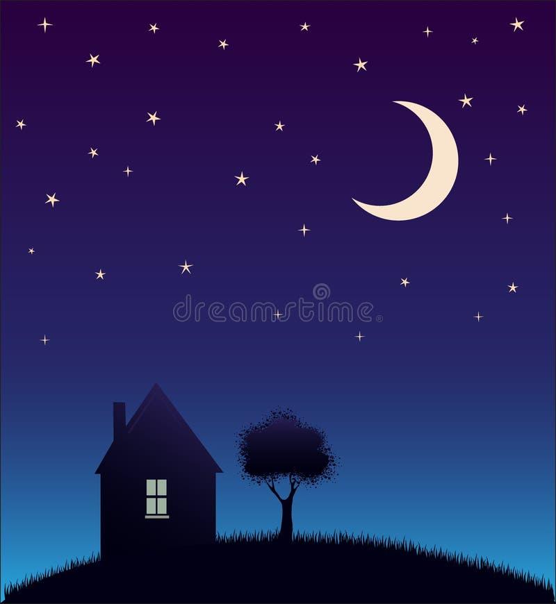 Hus och tree och nattsky med stjärnor och moonen   royaltyfri illustrationer