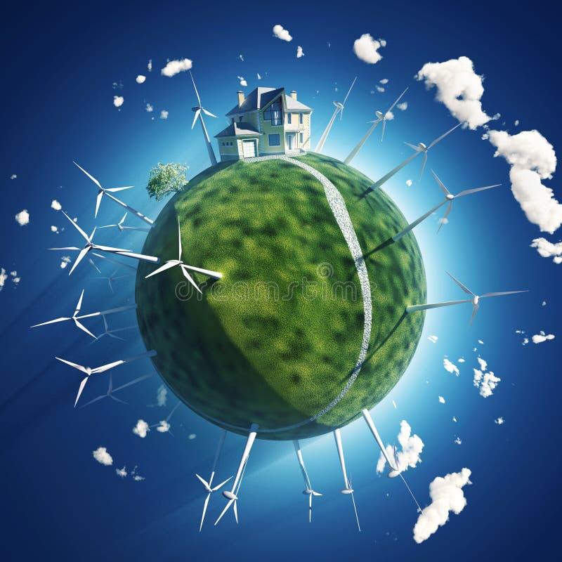 Hus- och windturbin på det gröna planet stock illustrationer