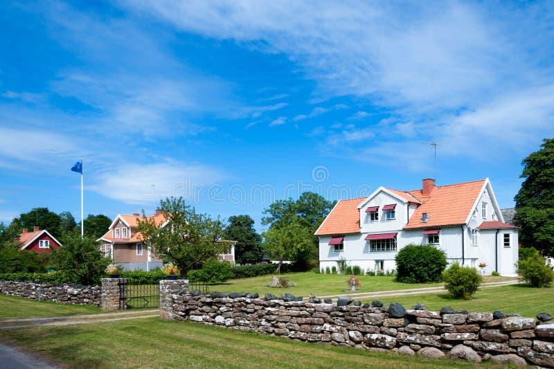 Hus på ön Oeland, royaltyfri bild