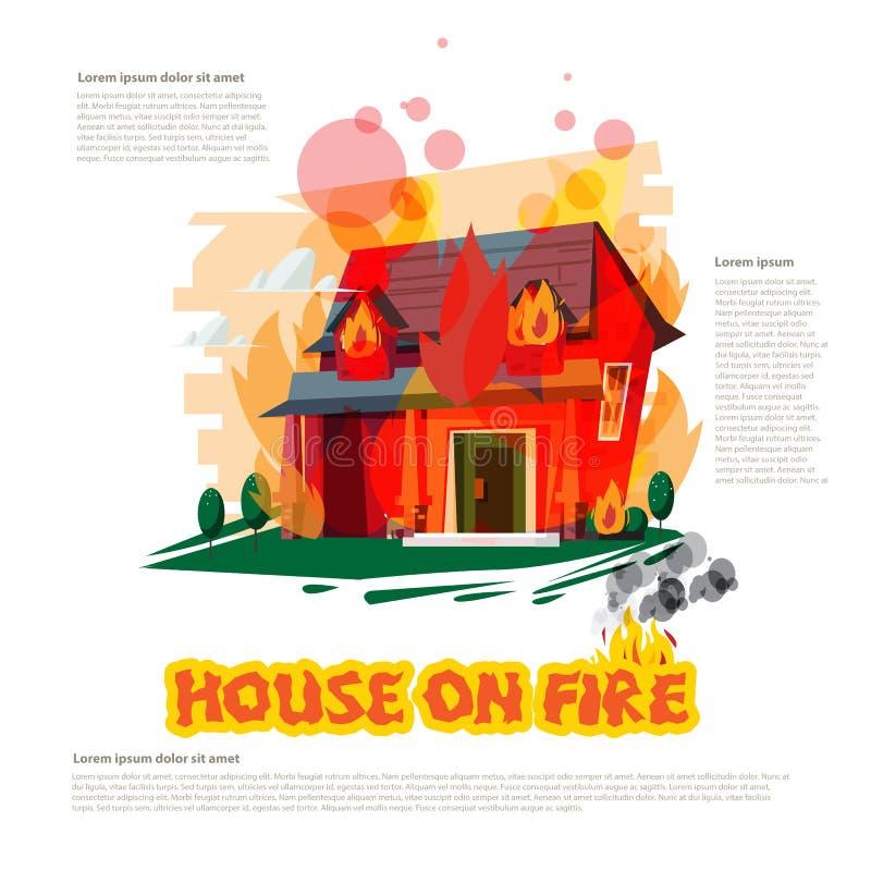Hus på brand med den typografiska designen - vektor vektor illustrationer