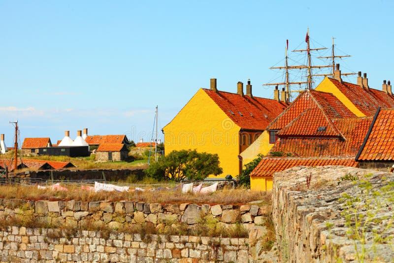 Hus på den Christiansoe ön Bornholm Danmark royaltyfria foton
