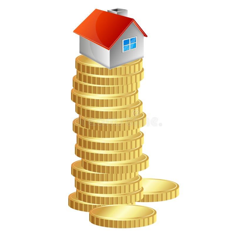 Hus på en hög av guld- mynt stock illustrationer