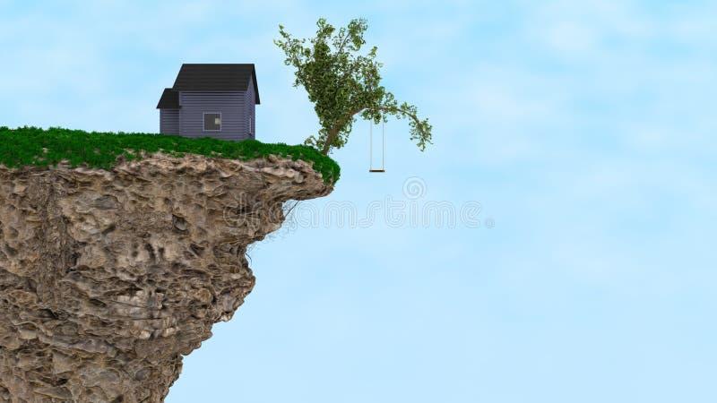 Hus på en klippa stock illustrationer