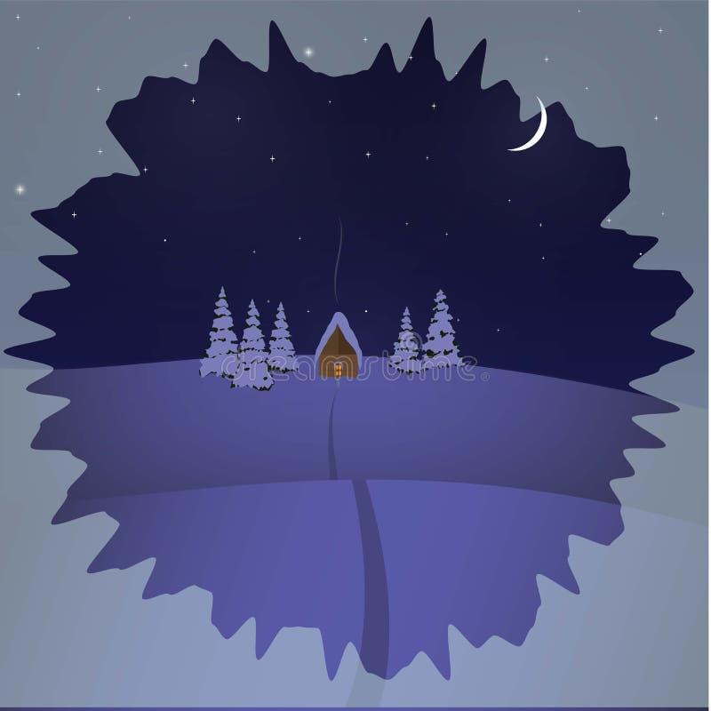 hus på en vinternattbakgrund royaltyfri foto