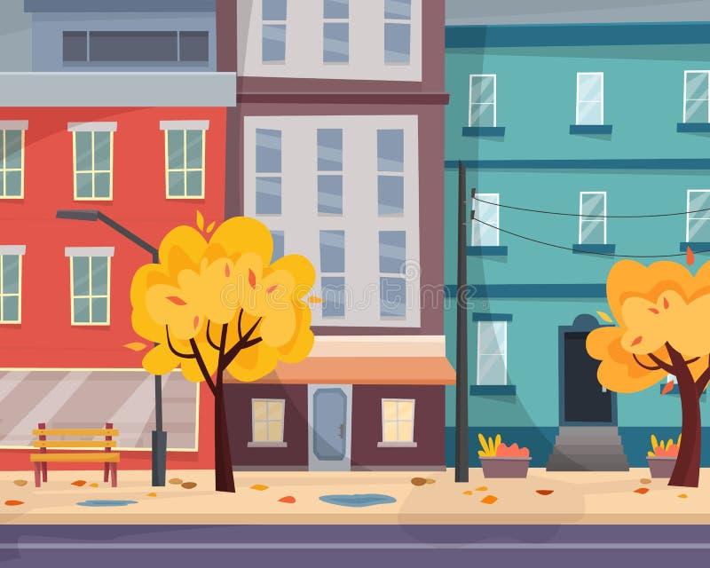 Hus på gatan med vägen i stad cityscape stock illustrationer