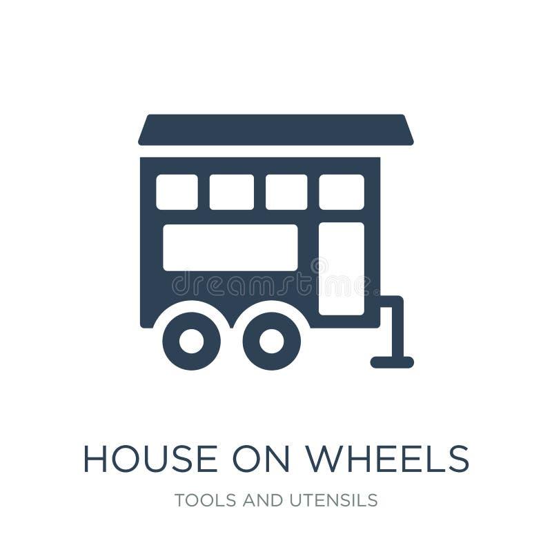 hus på hjulsymbol i moderiktig designstil hus på hjulsymbolen som isoleras på vit bakgrund hus på den enkla hjulvektorsymbolen stock illustrationer