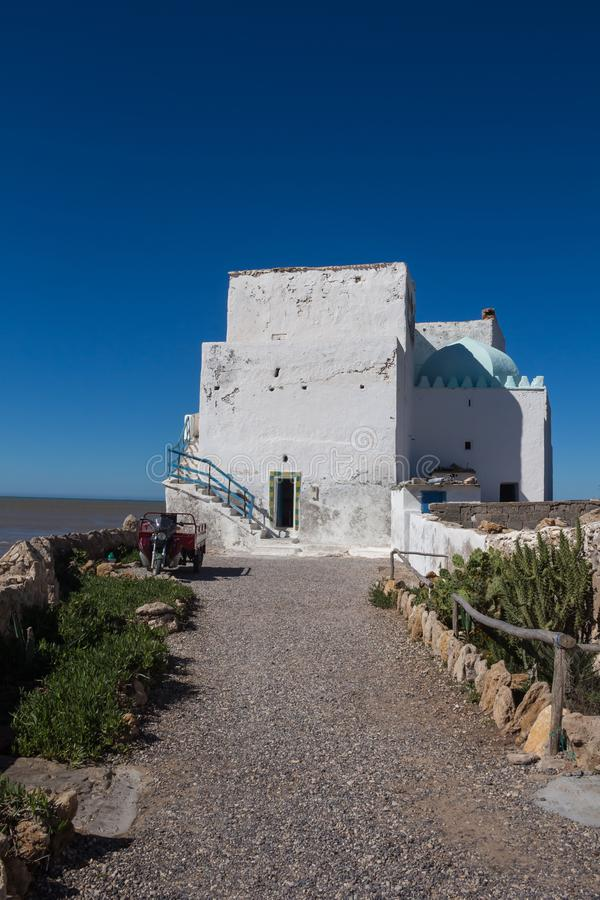 Hus på kusten, Sidi Kaouki, Marocko royaltyfria bilder
