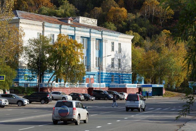 Hus Petropavlovsk-Kamchatsky för sjö- tjänstemän Ryska Far East fotografering för bildbyråer