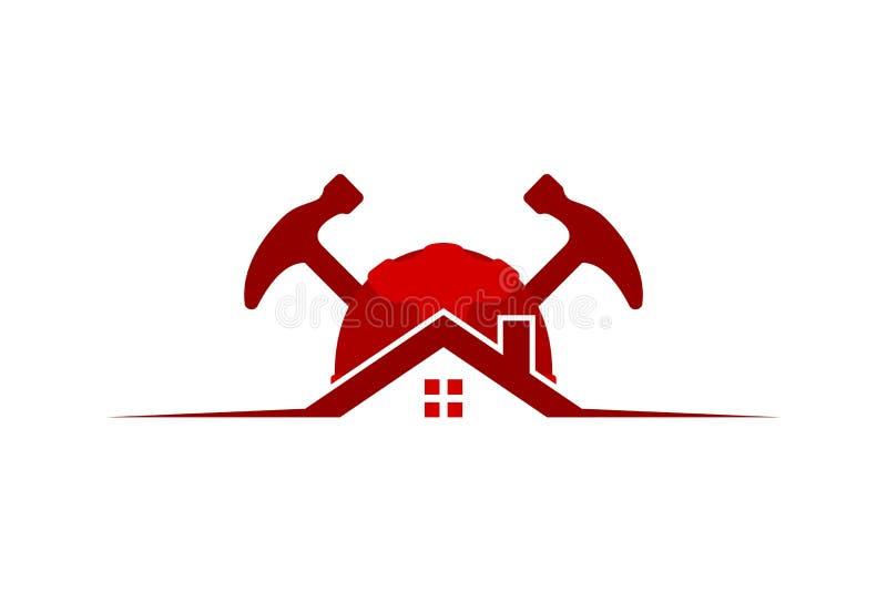 hus, skyddshjälm och hammare, inspiration för reparationslogodesigner som isoleras på vit bakgrund vektor illustrationer