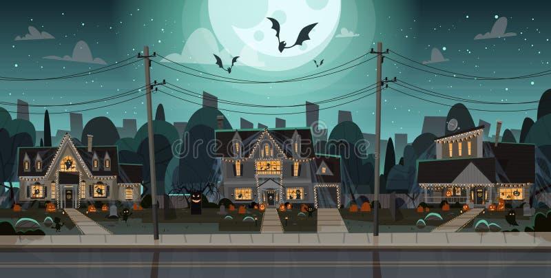 Hus som dekoreras för hem- byggnader Front View With Different Pumpkins, begrepp för allhelgonaafton för slagträferieberöm stock illustrationer
