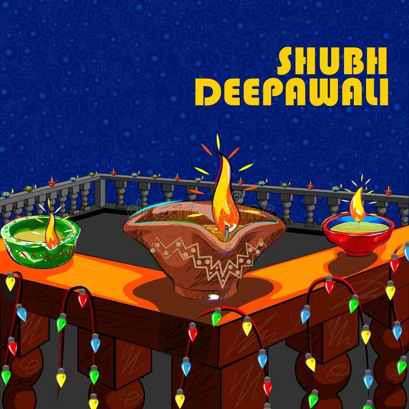 Hus som dekoreras med diyaen för Diwali vektor illustrationer
