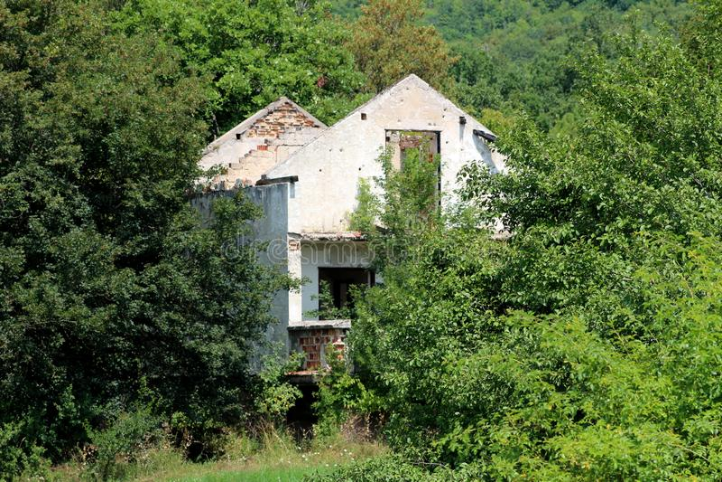 Hus som förstörs i ett krig med den förfallna fasaden som omges fullständigt med tät skogvegetation arkivbilder