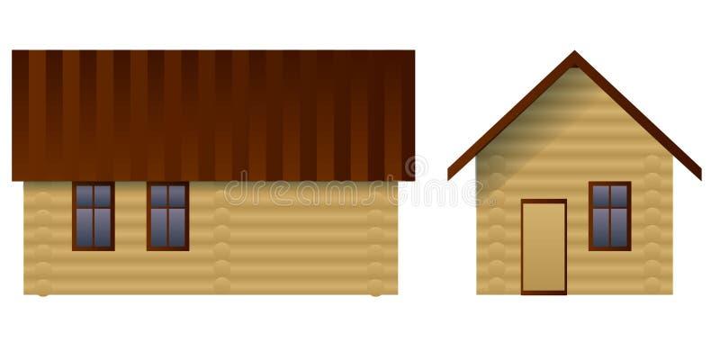 Hus som göras av journaler royaltyfri illustrationer