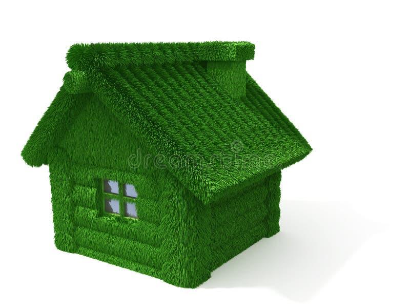 Hus som göras av journaler med gräs royaltyfri illustrationer