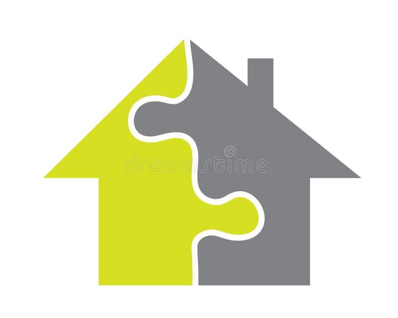 Hus som göras av pussel stock illustrationer
