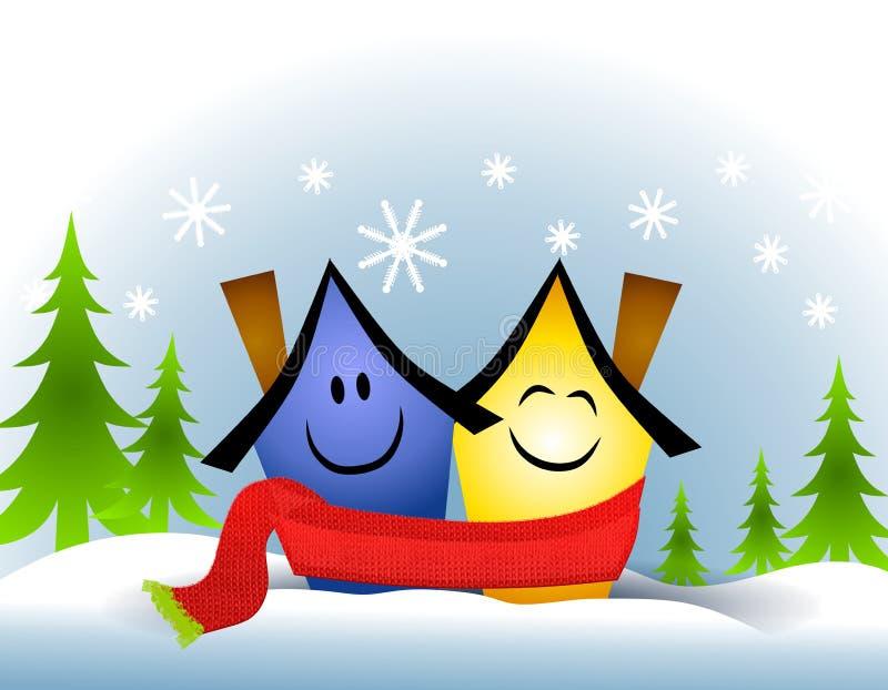 hus som kramar att dela för scarf royaltyfri illustrationer
