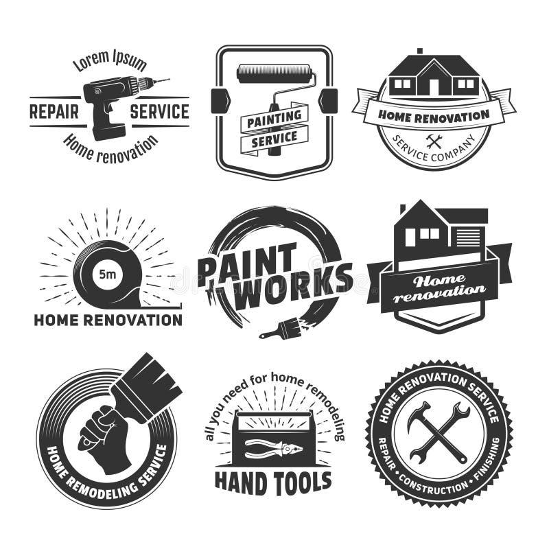 Hus som omdanar logoer royaltyfri illustrationer