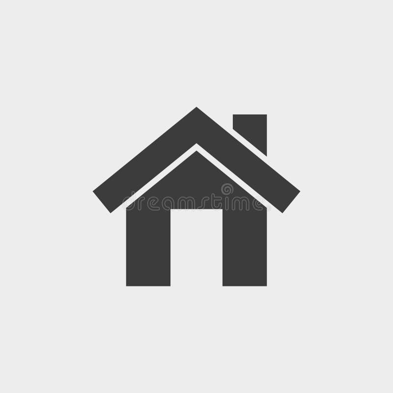 hus som skiner liten sunvinter Symbolsvektor i svart på en grå bakgrund vektor illustrationer