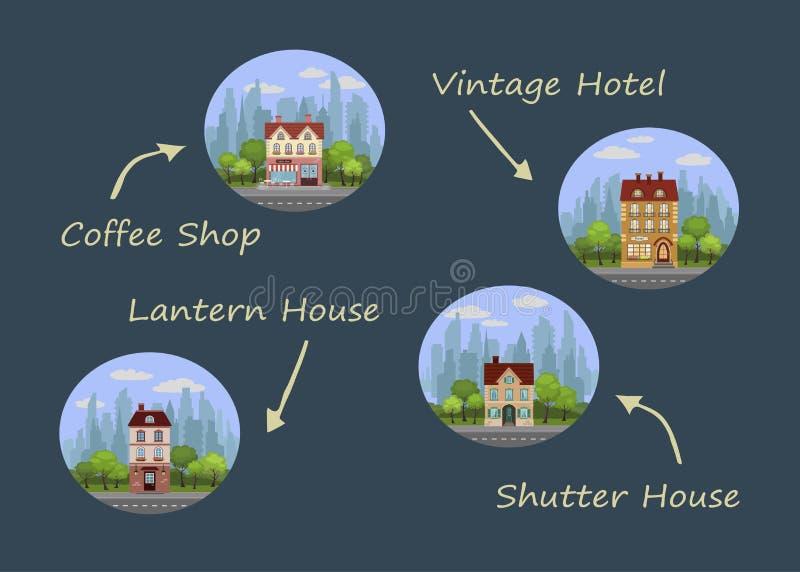 hus st?llde in vektorn vektor illustrationer