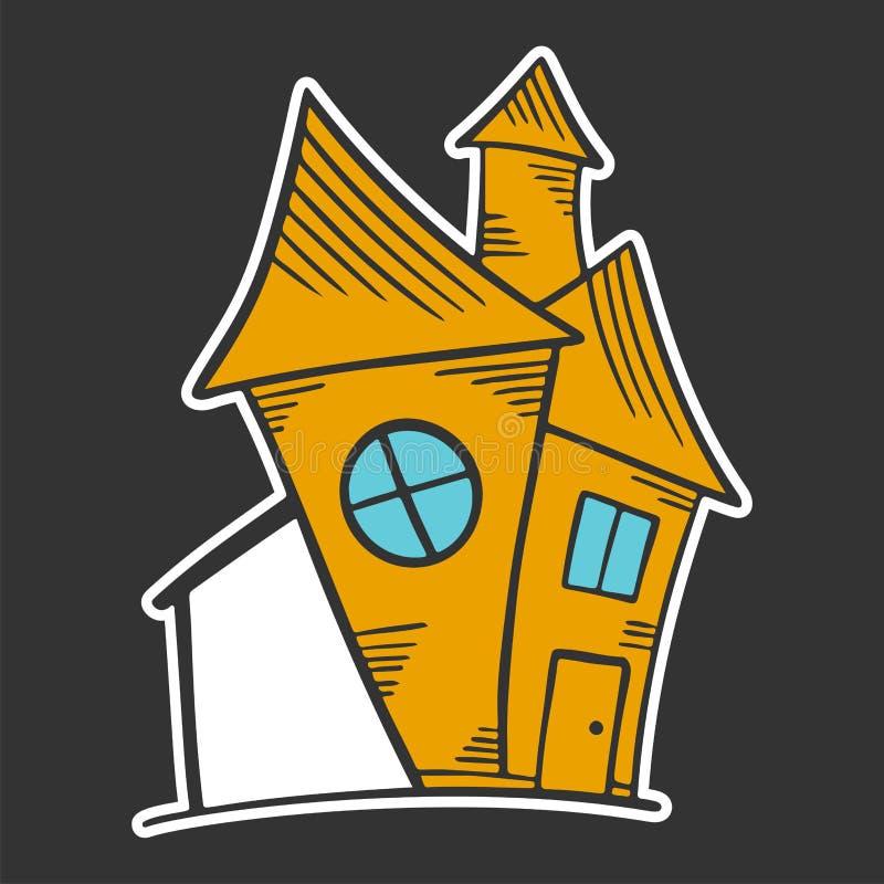 Hus Vektorbegrepp i klotter och att skissa stil stock illustrationer