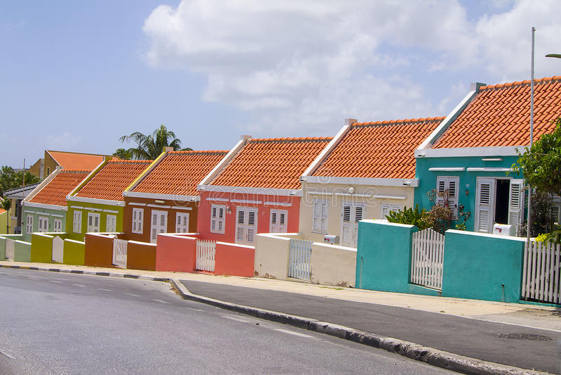 Hus Willemstad Curacao arkivbilder