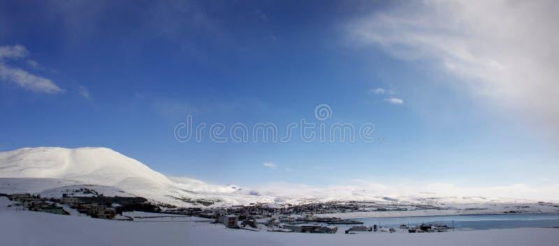 Husavik,冰岛,全景在冬天 免版税库存图片