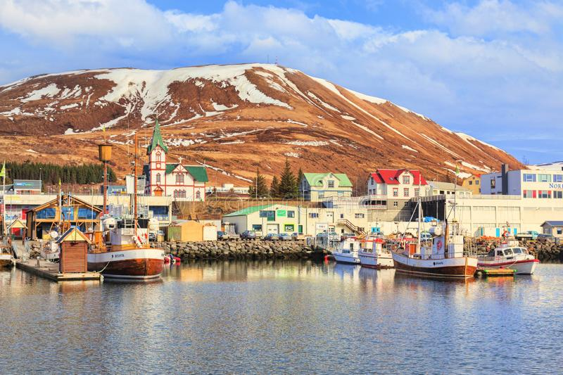 Husavik norr Island arkivfoto
