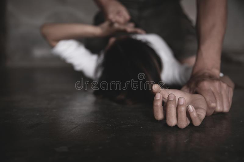 Husband assaulted his wife severely, The concept of violence against women and domestic violence. Abuse against women.  stock photos