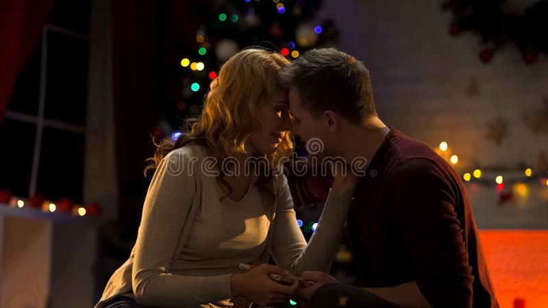 Husband giving present to wife and kissing her, celebrating anniversary on Xmas royalty free stock images